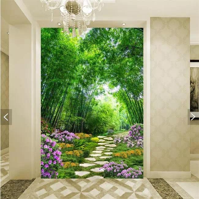 园小径裸眼风景3d立体玄关壁画客厅过道背景墙纸无缝整张背胶壁纸
